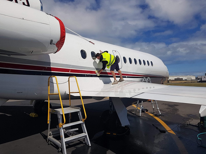 A visiting Hollywood superstar had us detail his plane The photo of plane the photo show our detailers at work - Gallery of cool detailing jobs