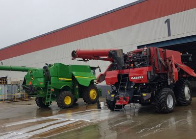 A team of two Detailing Adelaide detailers cleaned the exterior of these two combine harvesters